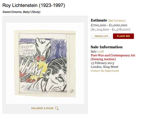 Lichtenstein at Christies